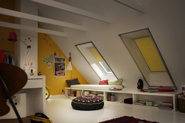 Yellow VELUX Blinds in loft conversion