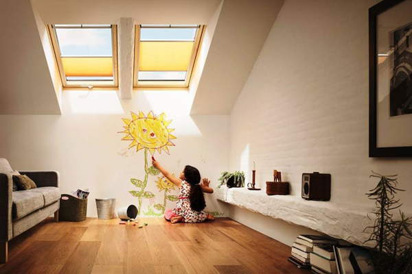 VELUX blinds for top hung windows in loft