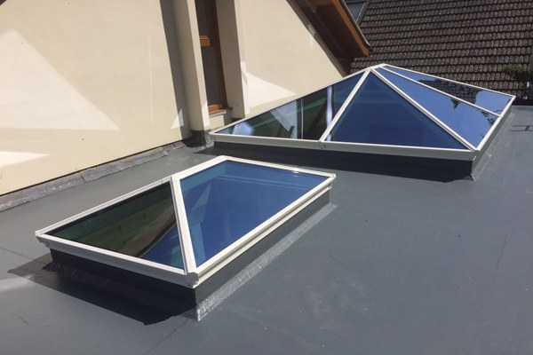 Two Korniche roof lanterns installed on roof external view