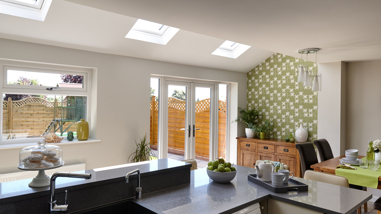 pitched roof windows for kitchen extensions and single storey extensions