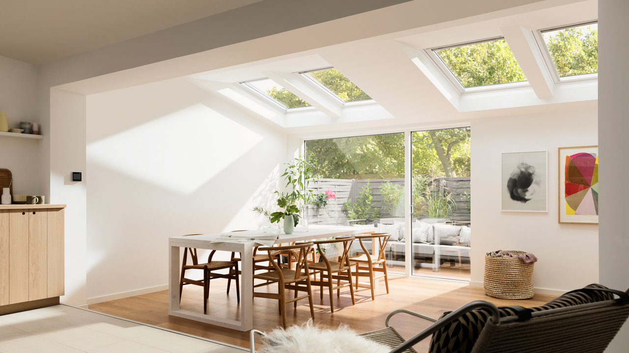 VELUX Roof Windows For Kitchen Or Single Storey Extensions Filling Dining Area With Natural Sunlight