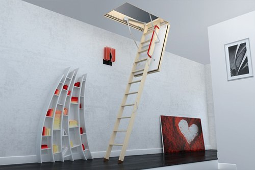 FAKRO loft ladder with red handrails