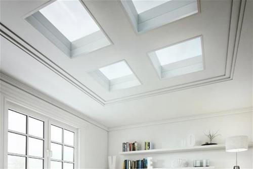 ECO+ flat glass rooflights fitted into ceiling