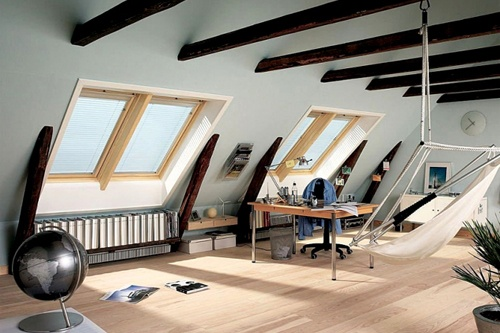 RoofLITE windows with pine finish located in loft space with blinds