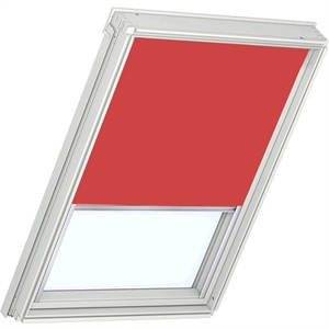 bright red VELUX roller blind