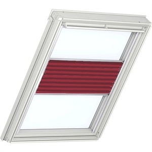 classic red pleated VELUX blinds