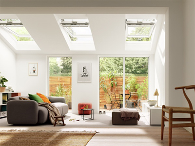 VELUX flat roof extension with pitched windows