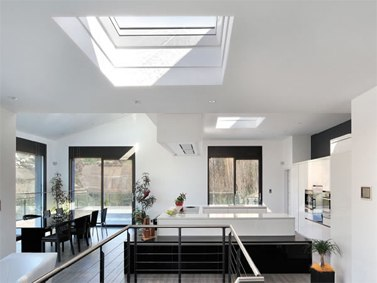 VELUX Flat roof windows installed in kitchen extension