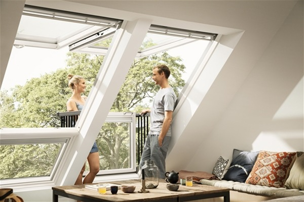two VELUX CABRIO balcony window for lofts