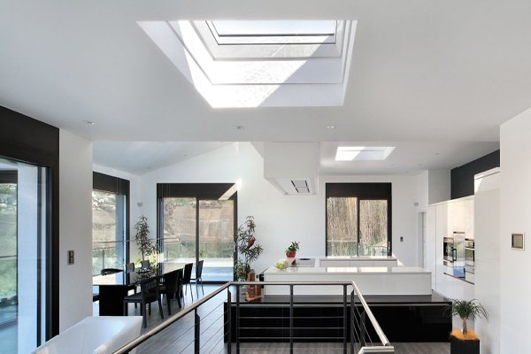 VELUX flat glass rooflight and curved glass rooflight for home extensions