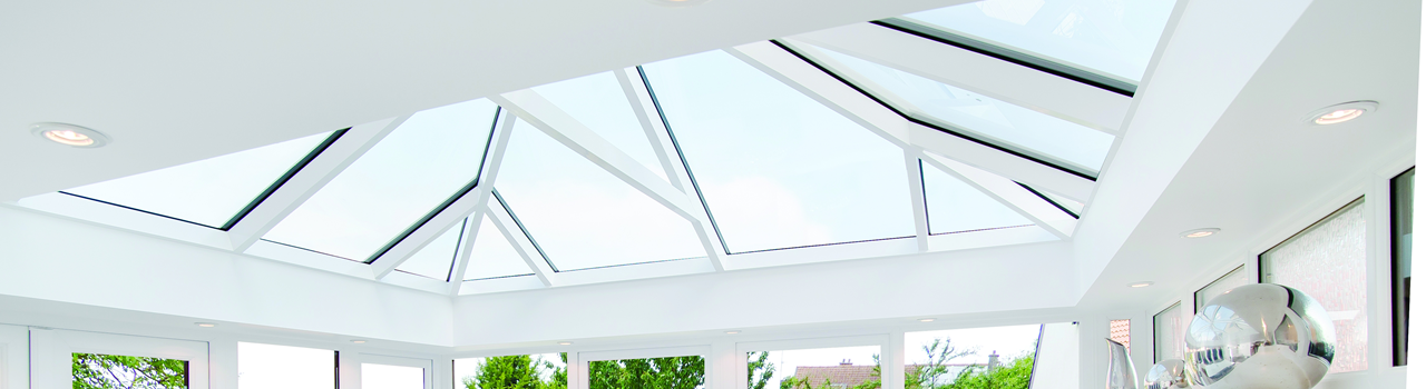 ECO+ flat roof lantern with white internal finish at Sterlingbuild