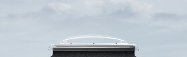 Flat roof domed glass windows