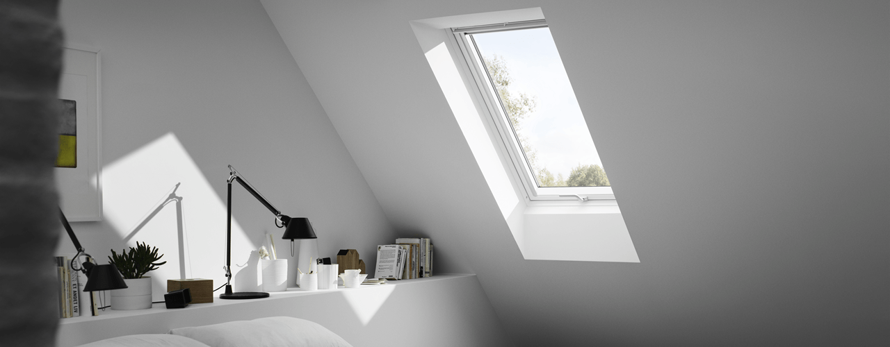 VELUX roof window installed in a contemporary bedroom